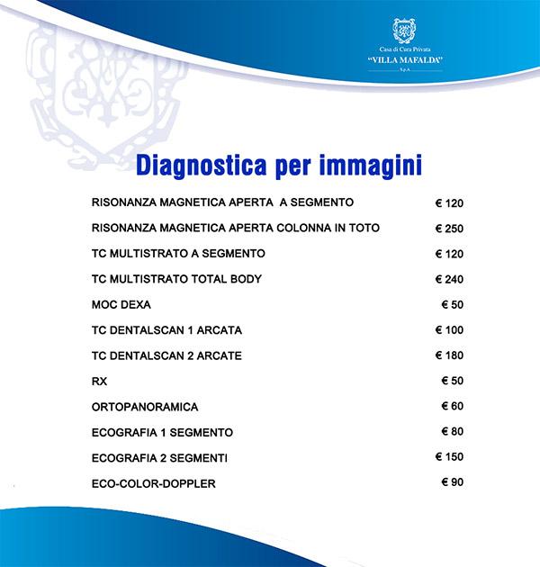 Prezzi esami Diagnostica per Immagini