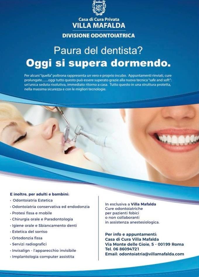 Locandina Odontofobia - Reparto di odontoiatria - Casa di Cura Villa Mafalda di Roma